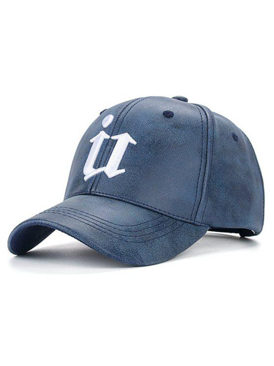 lady Outdoor U Letter Printed PU Leather Baseball Hat - CADETBLUE