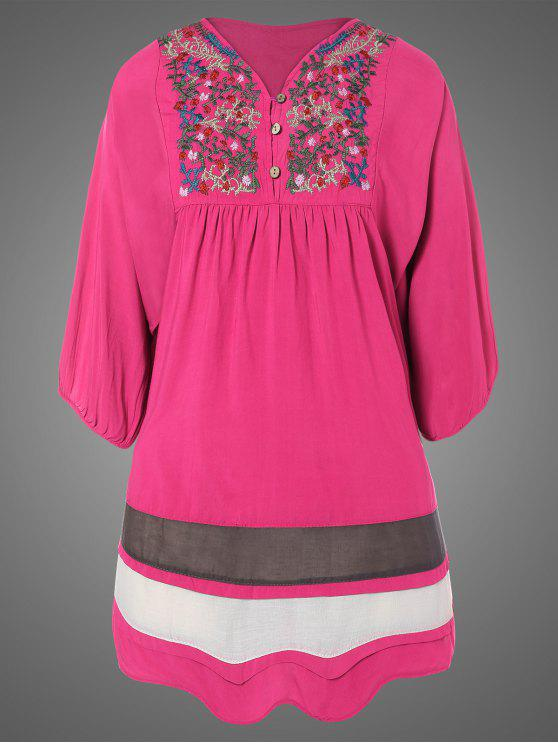 sale Plus Size Embroidered Bib Tunic Dress - ROSE RED ONE SIZE
