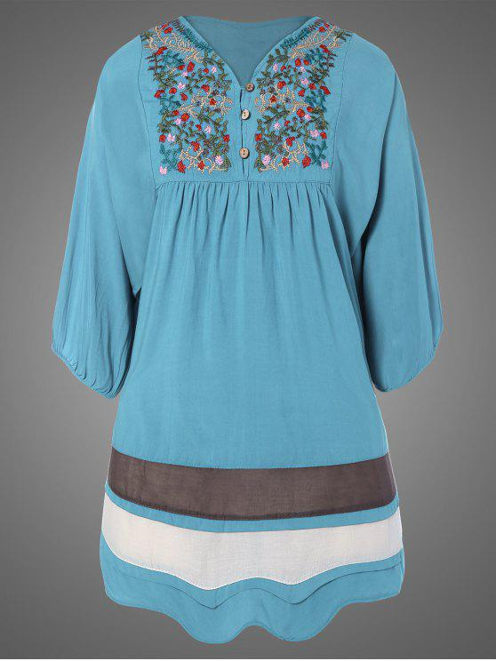 affordable Plus Size Embroidered Bib Tunic Dress - LIGHT BLUE ONE SIZE