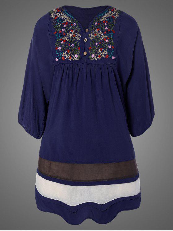 ladies Plus Size Embroidered Bib Tunic Dress - PURPLISH BLUE ONE SIZE