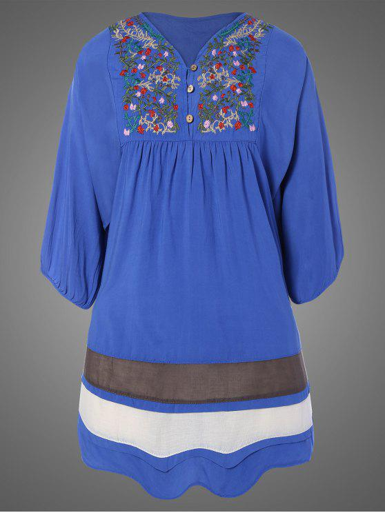 lady Plus Size Embroidered Bib Tunic Dress - DENIM BLUE ONE SIZE