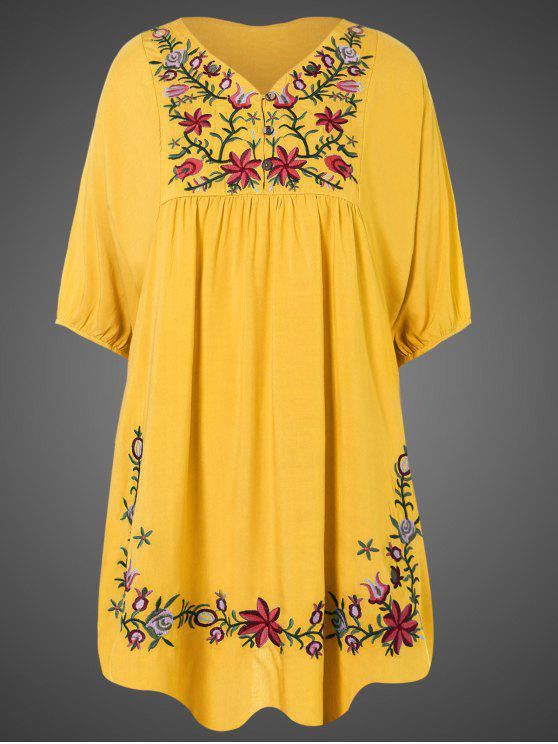 best Embroidered Floral Bib Tunic Dress - YELLOW ONE SIZE