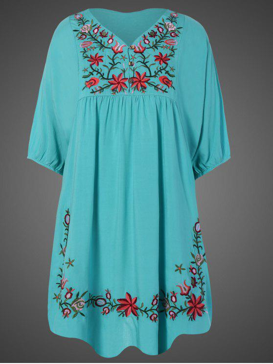 new Embroidered Floral Bib Tunic Dress - LAKE BLUE ONE SIZE