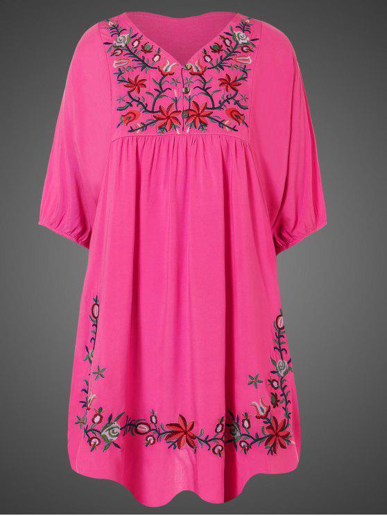 Vestido Túnica Talla Extra Bordado Floral al Cuello - Rosa Roja Única Talla