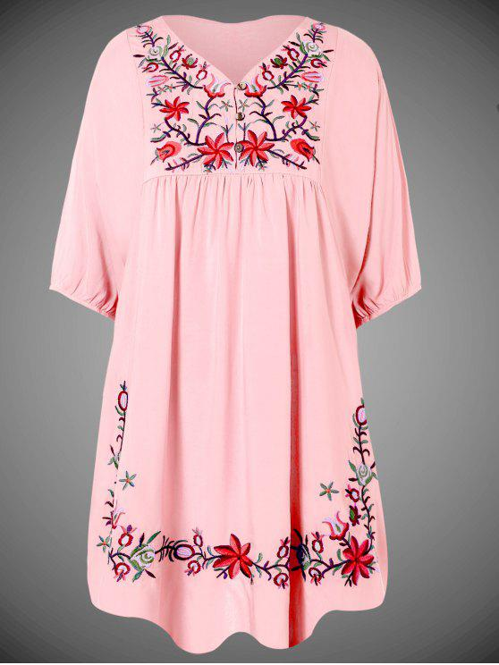 shops Embroidered Floral Bib Tunic Dress - PINK ONE SIZE