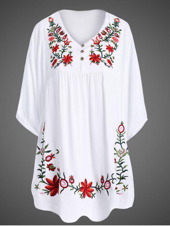 Vestido Túnica Talla Extra Bordado Floral al Cuello - Blanco Única Talla