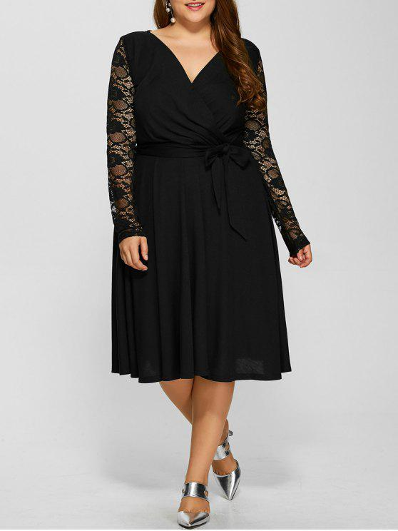 Lace Sleeve Surplice Plus Size Vestido - Preto 2XL