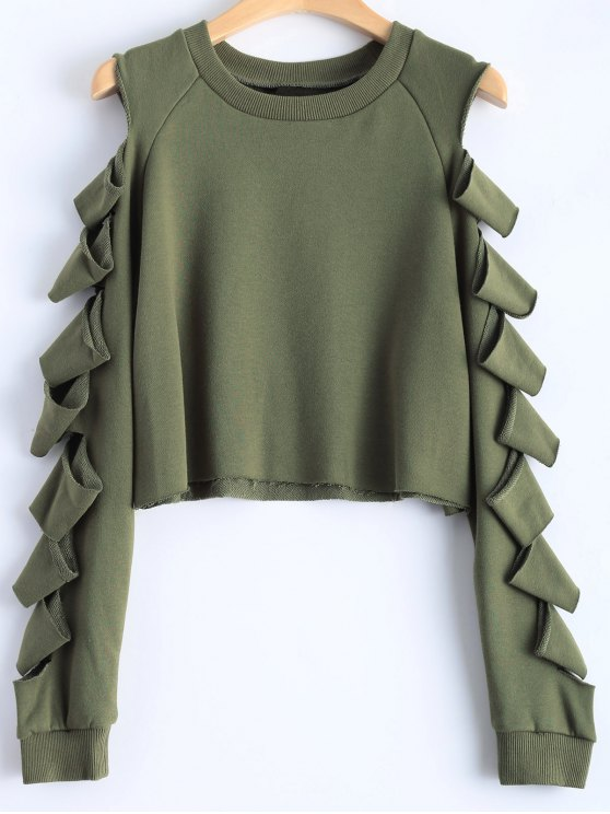 Ripped Sleeve Cropped Sweatshirt - Army Green M
