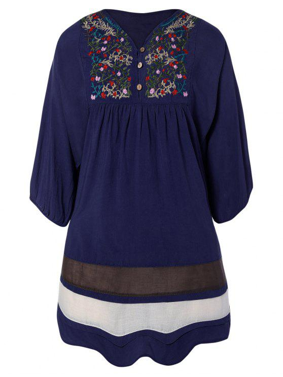 Ricamato Bib Dress tunica - Blu Violaceo Una Taglia