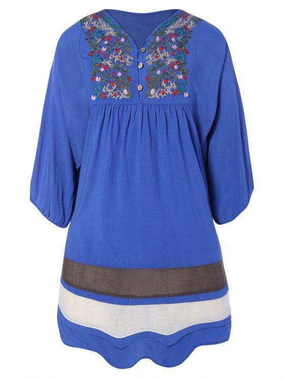hot Embroidered Bib Tunic Dress - DENIM BLUE ONE SIZE