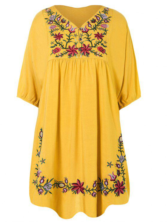affordable Floral Embroidered Bib Tunic Dress - YELLOW ONE SIZE