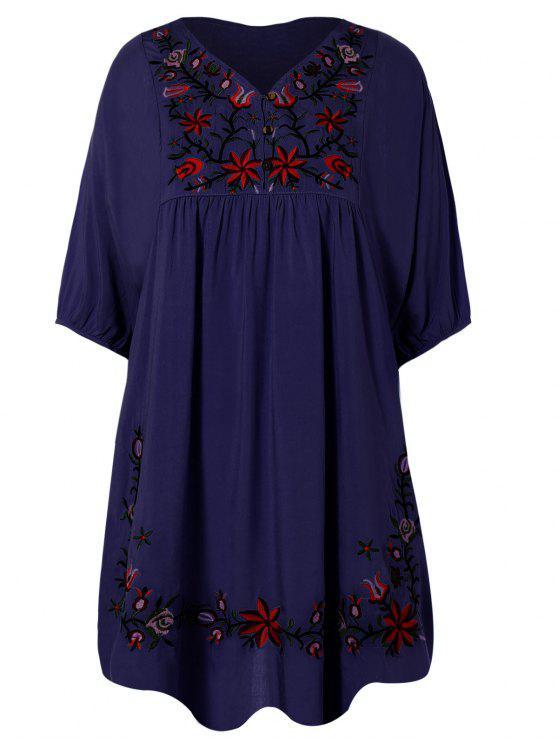 buy Floral Embroidered Bib Tunic Dress - PURPLISH BLUE ONE SIZE