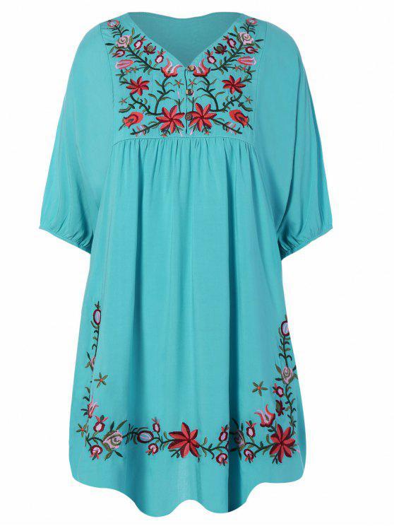 women Floral Embroidered Bib Tunic Dress - LAKE BLUE ONE SIZE