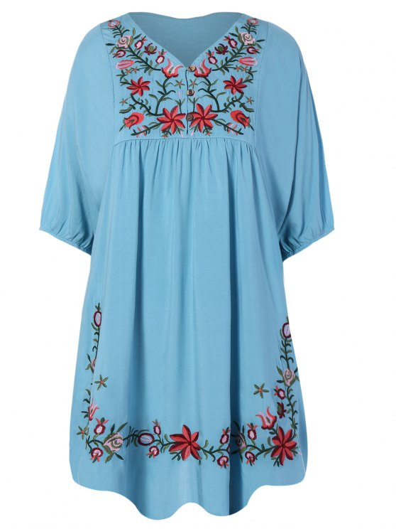 women's Floral Embroidered Bib Tunic Dress - LIGHT BLUE ONE SIZE