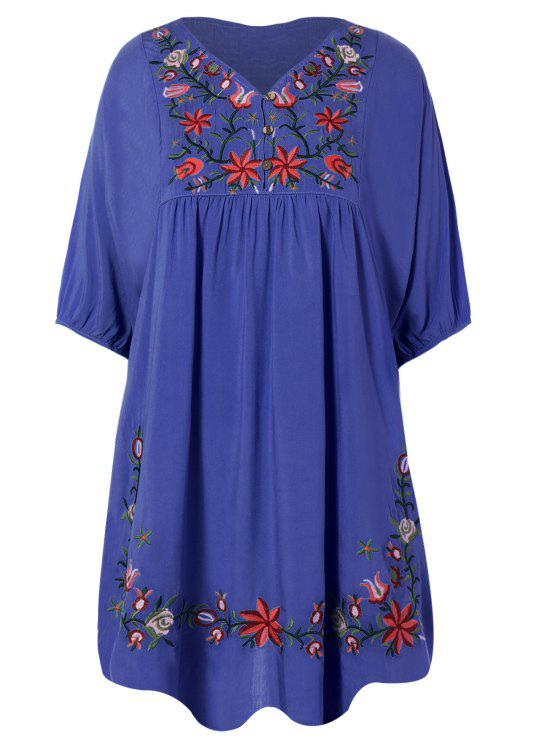 ladies Floral Embroidered Bib Tunic Dress - DENIM BLUE ONE SIZE