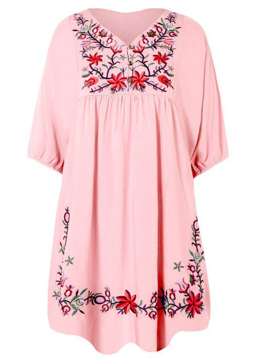 sale Floral Embroidered Bib Tunic Dress - PINK ONE SIZE