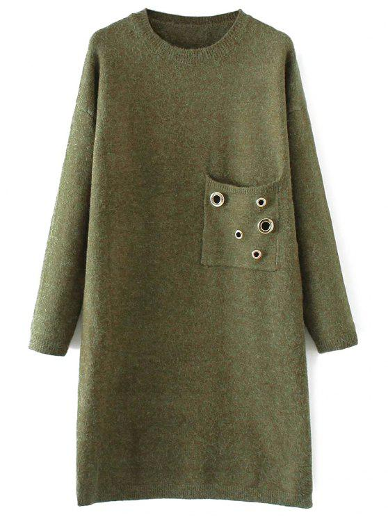 Jewel Neck Pocket Sweater Dress - Vert TAILLE MOYENNE