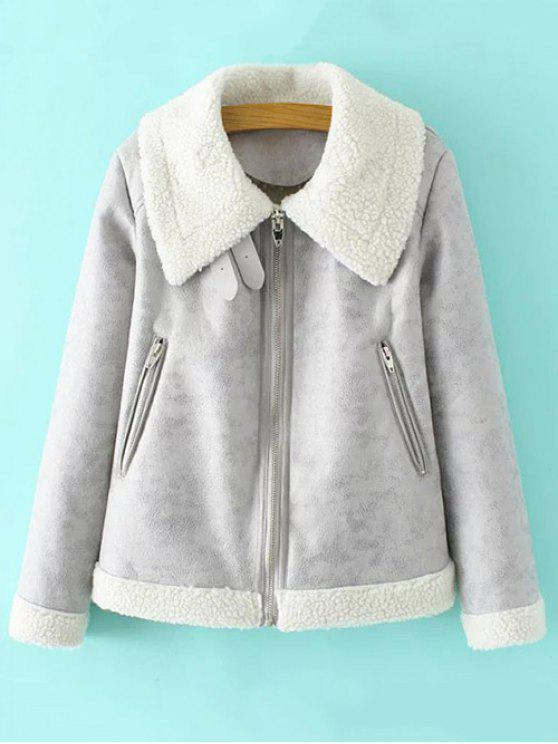 buy Faux Leather Faux Shearling Jacket - GRAY M