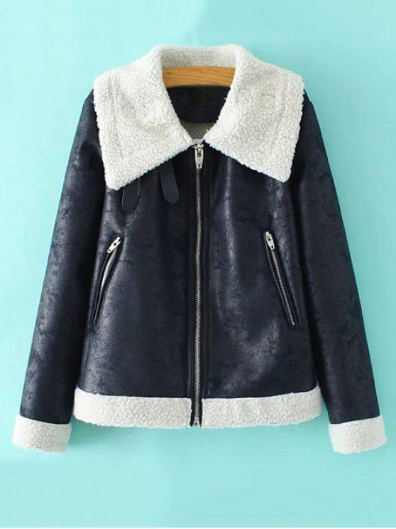 lady Faux Leather Faux Shearling Jacket - CADETBLUE L