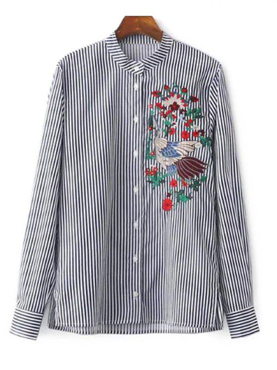 women's Striped Stand Collar Peacock Embroidered Shirt - STRIPE M
