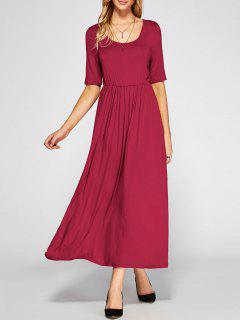 Robe Trapèze Plissé Taille Haute  - Rouge Xl