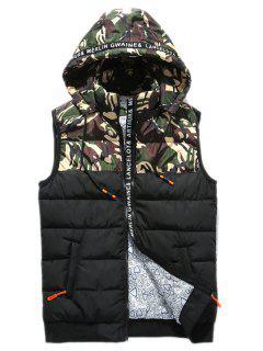 Zip Up Camo Panel Hooded Vest - Green S
