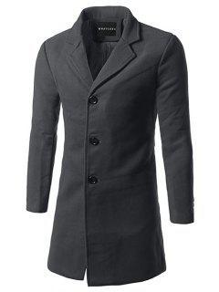 Slim Fit Single Breasted Lapel Wool Mix Coat - Deep Gray 5xl