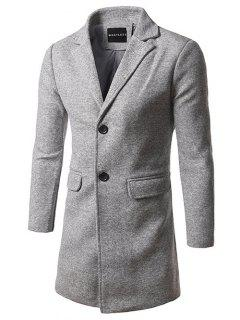 Flap Pocket Lapel Tweed Wool Blend Coat - Light Gray 5xl