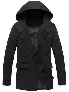 Hooded Double Breasted Back Slit Wind Coat - Black Xl