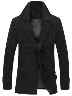 Manteau En Laine à Col Tailleur ,double Boutonnage - Noir M