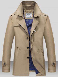 Turndown Collar Single Breasted Epaulet Wind Coat - Dark Khaki 3xl