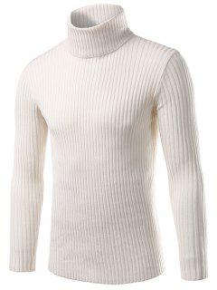 Slim Fit Roll Neck Ribbed Knitted Sweater - White M