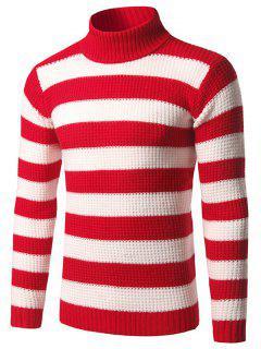 Sweat-shirt Pull Rayé à Col Roulé ,moulant - Rouge M
