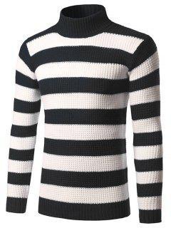 Slim Fit Roll Neck Striped Sweater - Black L