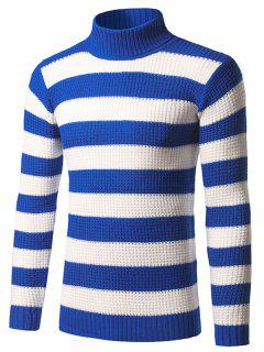 Slim Fit Roll Neck Striped Sweater - Blue M