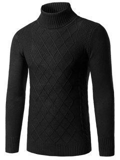 Slim Fit Roll Neck Rhombus Pattern Sweater - Black L