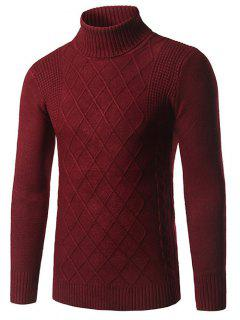 Slim Fit Roll Neck Rhombus Pattern Sweater - Burgundy M