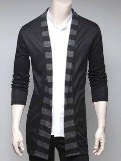 Stripe Design Turndown Collar Cardigan - Black Xl