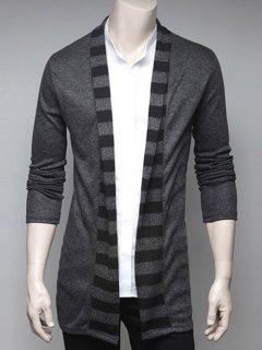 Stripe Design Turndown Collar Cardigan - Gray M