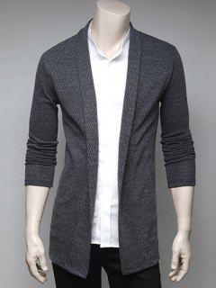 Turndown Collar Drape Cardigan - Light Gray L