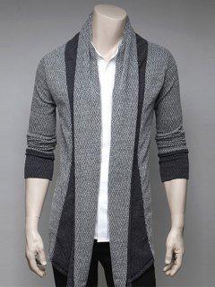 Color Block Splicing Turndown Collar Cardigan - Light Gray Xl