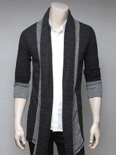 Color Block Splicing Turndown Collar Cardigan - Deep Gray Xl