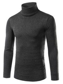 Suéter Ajustado Cuello Doblado - Gris Oscuro Xl