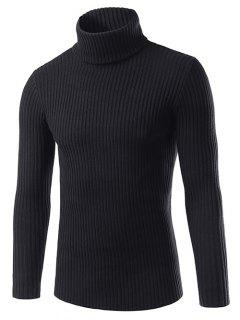 Slim Fit Roll Neck Ribbed Knitted Sweater - Black L