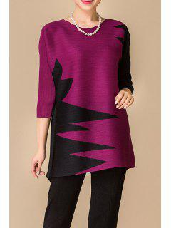 Jewel Collar Color Block Long Tee - Violet Rose