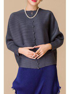 Bouton Batwing Sleeve Cardigan Court Vers Le Bas - Gris