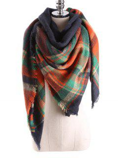 Tartan Plaid Blanket Shawl Scarf - Purplish Blue