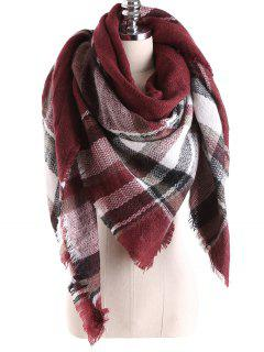 Tartan Plaid Blanket Shawl Scarf - Burgundy