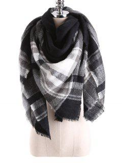 Tartan Plaid Blanket Shawl Scarf - Black
