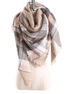 Tartan Plaid Blanket Shawl Scarf - Light Khaki